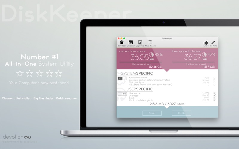 DiskKeeper - Free Disk Space, Uninstall Apps