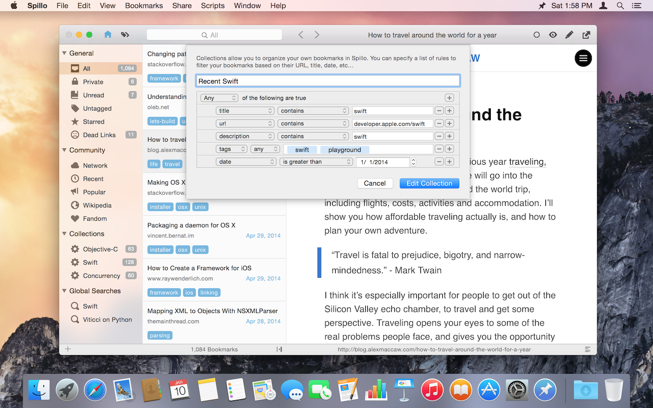 Spillo 2.0Pinboard书签管理工具