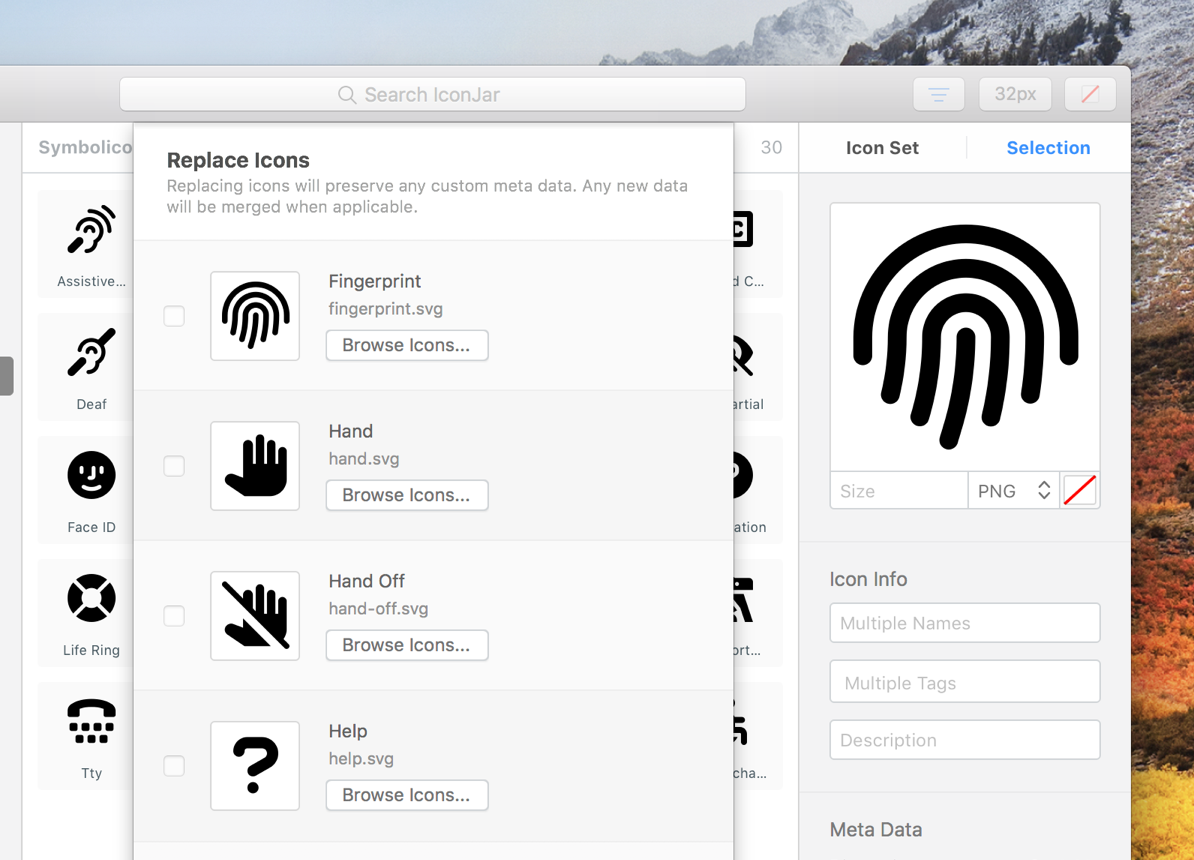 Iconjar Mac图标素材管理工具,一键替换的应用图标